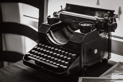 antique manual typewriter on the table