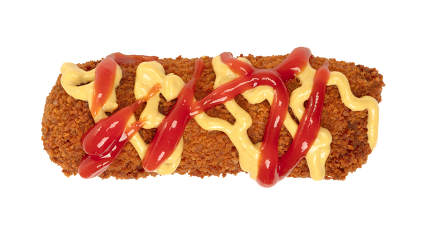 Brown crusty dutch kroket with mustard and ketchup topping isola