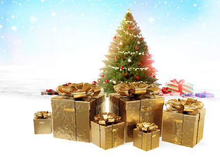 christmas presents. golden christmas gifts 3d-illustration