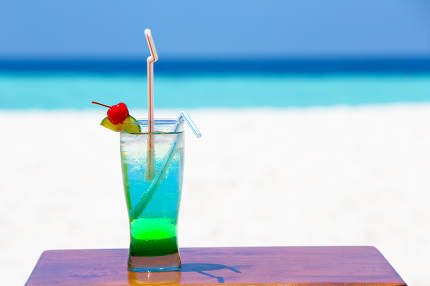 Coloerful cocktail and beverage on the beach