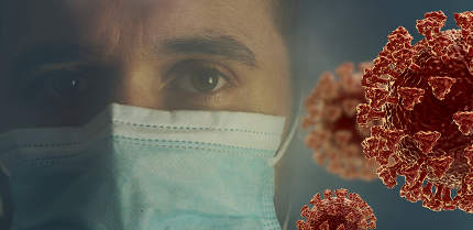 concept of corona virus and mask. a European German young man, 33 years old, with face mask. 3d-illustration