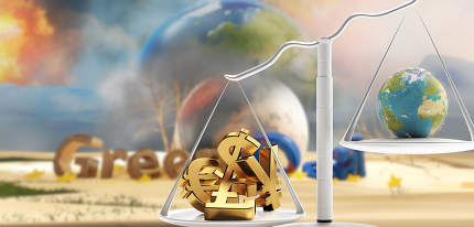 concept of Green Deal and a scale with money and planet earth on the other side 3d-illustration
