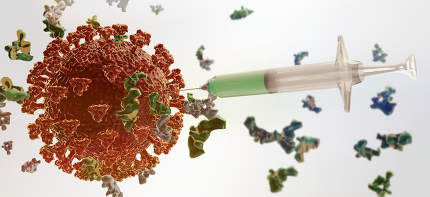 concept of vaccination. syringe and Coronavirus 3d-illustration background