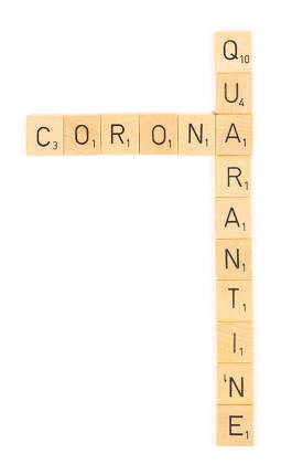 Corona quarantine letters, isolated on a white background