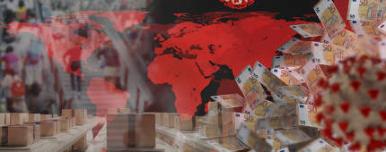 Corona virus and packages and red world map and many people in the background on a staircase and many 50 euro bills. 3d-illustration. elements of this image furnished by NASA