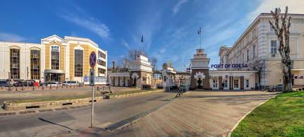 Customs square and Odessa commercial sea port in Odessa, Ukraine