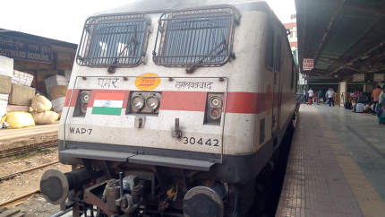 Delhi India May 2019, Tughlakabad train in Indian railway station, It operates in Kanpur Tundla Agra Delhi line run by Northern Railway