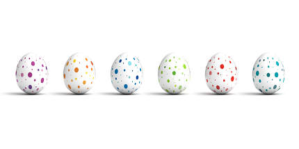 Easter Eggs on white background (Computer generated image)