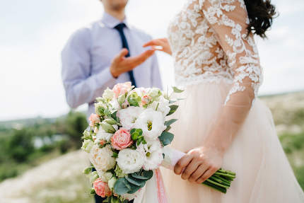 elegant wedding bouquet of fresh natural flowers