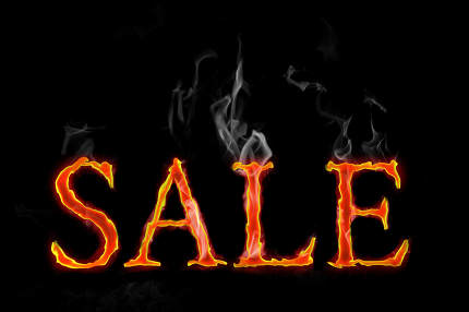 Fire Sales text in english language, letters with smoke