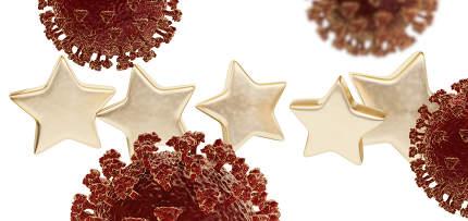 five golden stars. coronavirus 3d-illustration