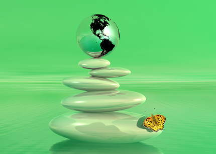 Green zen, earth and butterfly