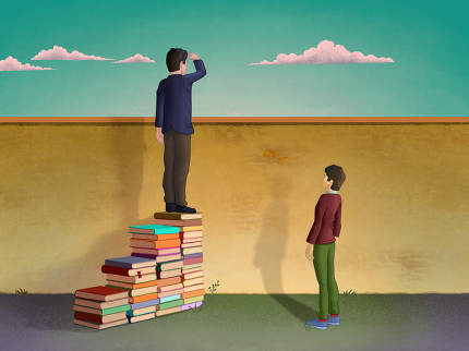 Higher education.Man using piles of books to create a stair and look over a wall. Digital illustration.