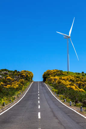 Madeira island. way to the blue sky with a wind turbine. holiday