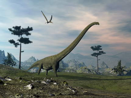 Mamenchisaurus dinosaur walk - 3D render