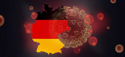 map of Germany and Coronavirus concept background 3d-illustratio
