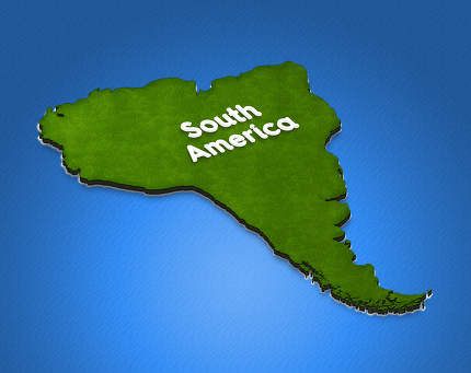Map of South America. 3D isometric illustration.