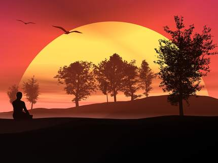 Meditation in the nature by sunset - 3D render