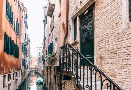 narrow canals of Venice Italy