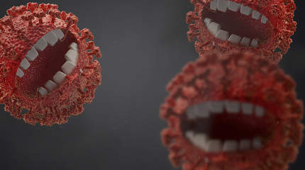 nasty and annoying coronavirus monsters, symbolic virus monster with teeth 3d-illustration