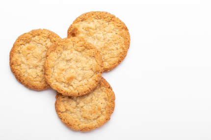 Oatmeal cookies on a white background, food