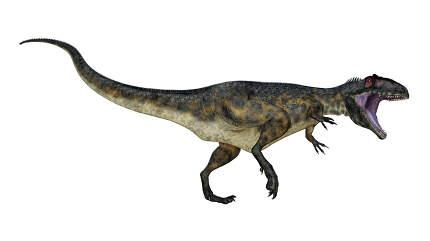 Terrifying giganotosaurus dinosaur roaring - 3D render