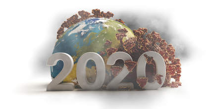 the year 2020 bold letters. concept of Coronavirus Covid19 world