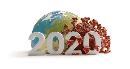 the year 2020 bold letters. concept of Coronavirus Covid19 world wide. 3d-illustration