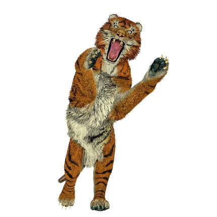 Tiger attacking - 3D render