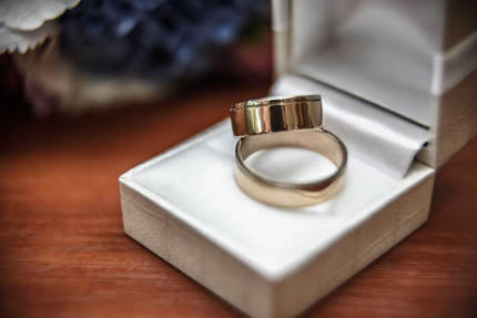wedding ring on the table
