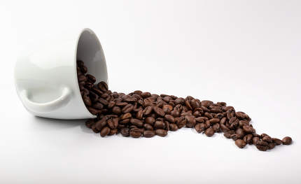 White cup with coffee beans on white background
