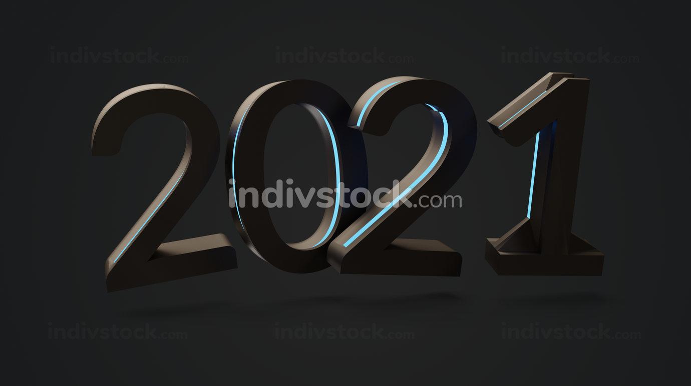 2021 dark and blue lights 3d-illustration