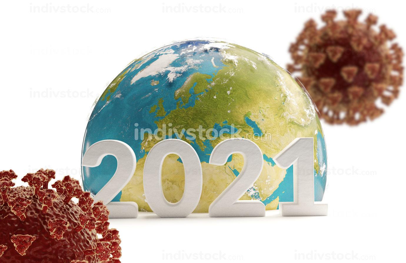 2021 earth and coronavirus 3d-illustration. elements of this ima
