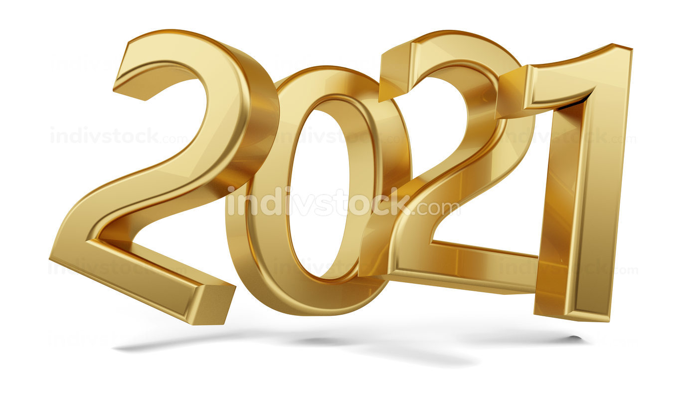 2021 golden bold letters. year 2021 isolated on white 3d-illustr
