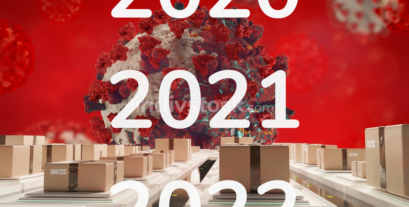 2021 packages and corona virus 3d-illustration background
