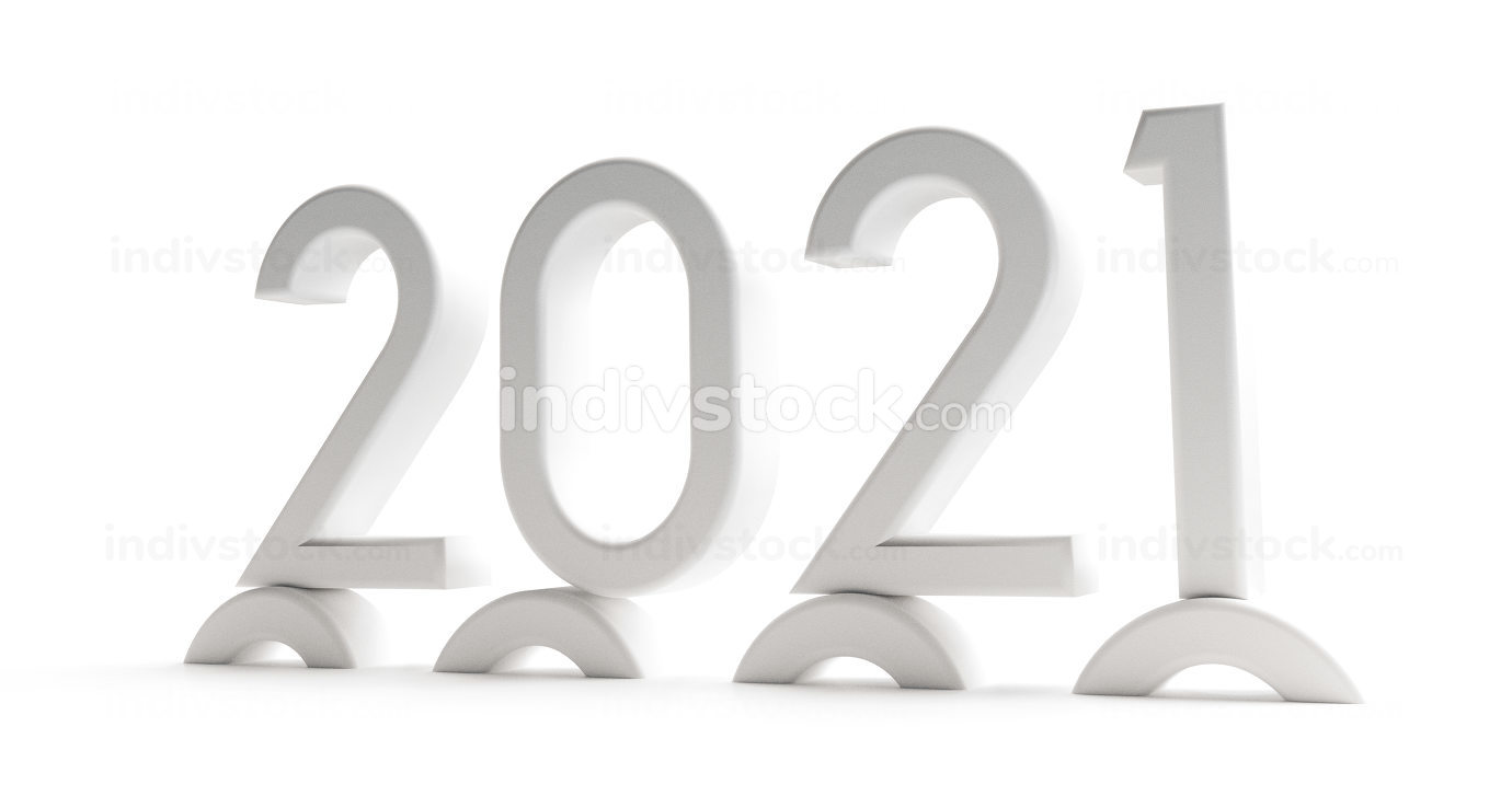 2021 thin letters 3d illustration isolated on white
