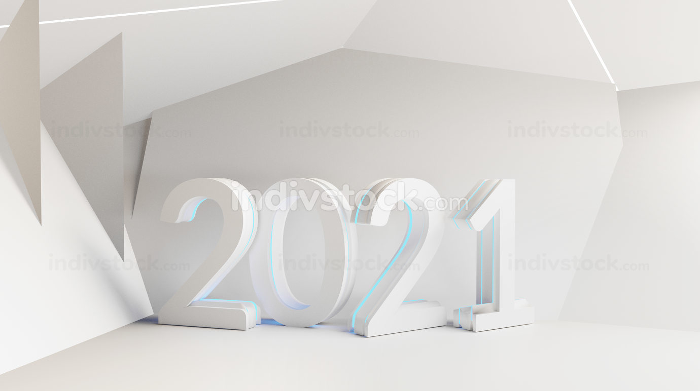 2021 white creative abstract background 3d-illustration