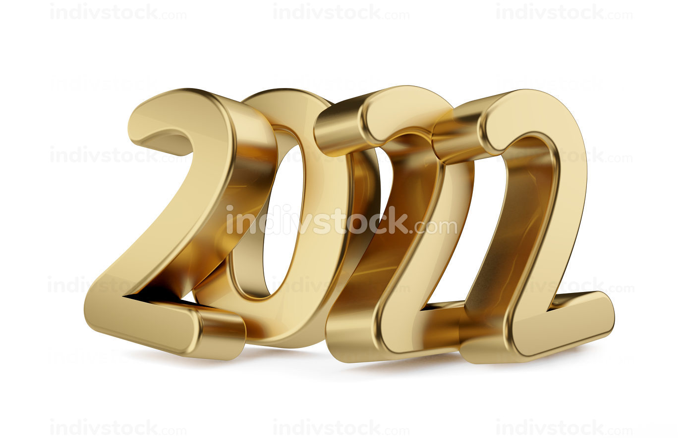 2022 golden bold letters isolated 3d-illustration
