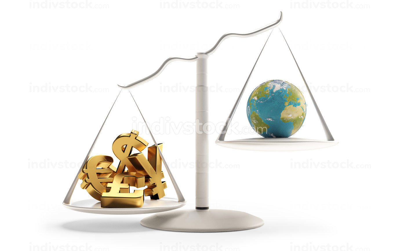a scale with money and planet earth on the other side 3d-illustration