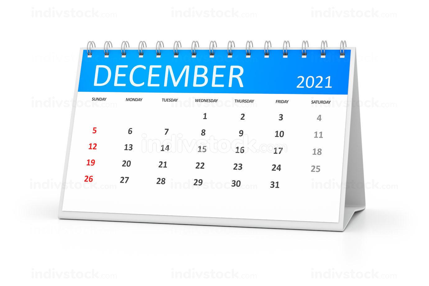 a table calendar for your events 2021 december 3d illustration