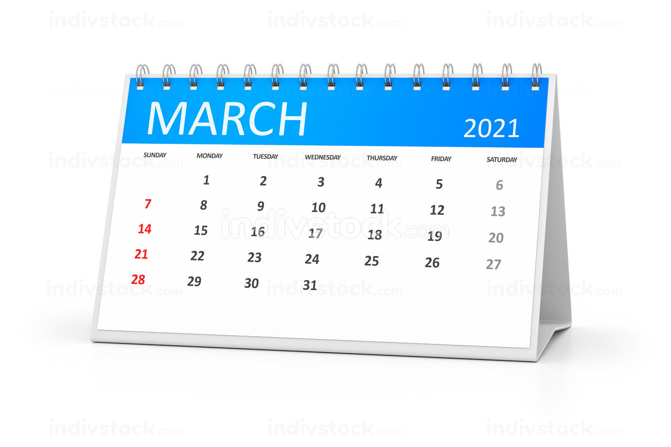 a table calendar for your events 2021 march 3d illustration
