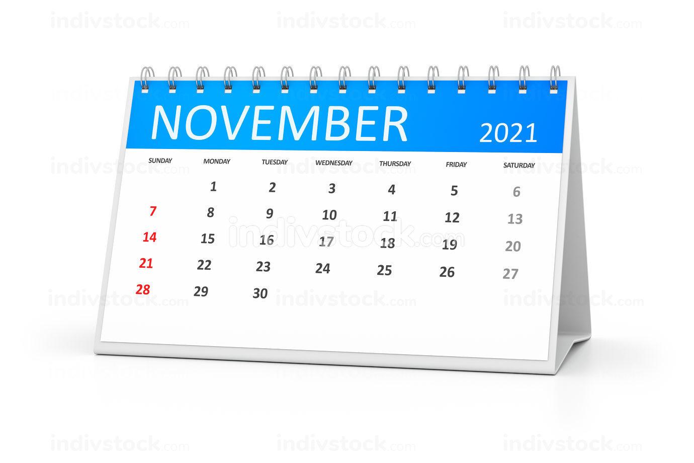 a table calendar for your events 2021 november 3d illustration