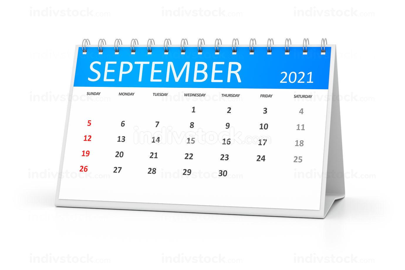 a table calendar for your events 2021 september 3d illustration