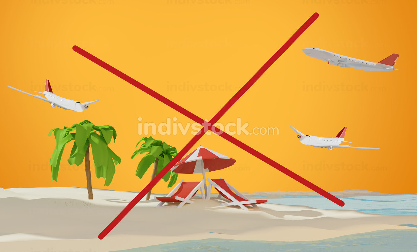 airplanes over island. beach and cancel concept 3d-illustration