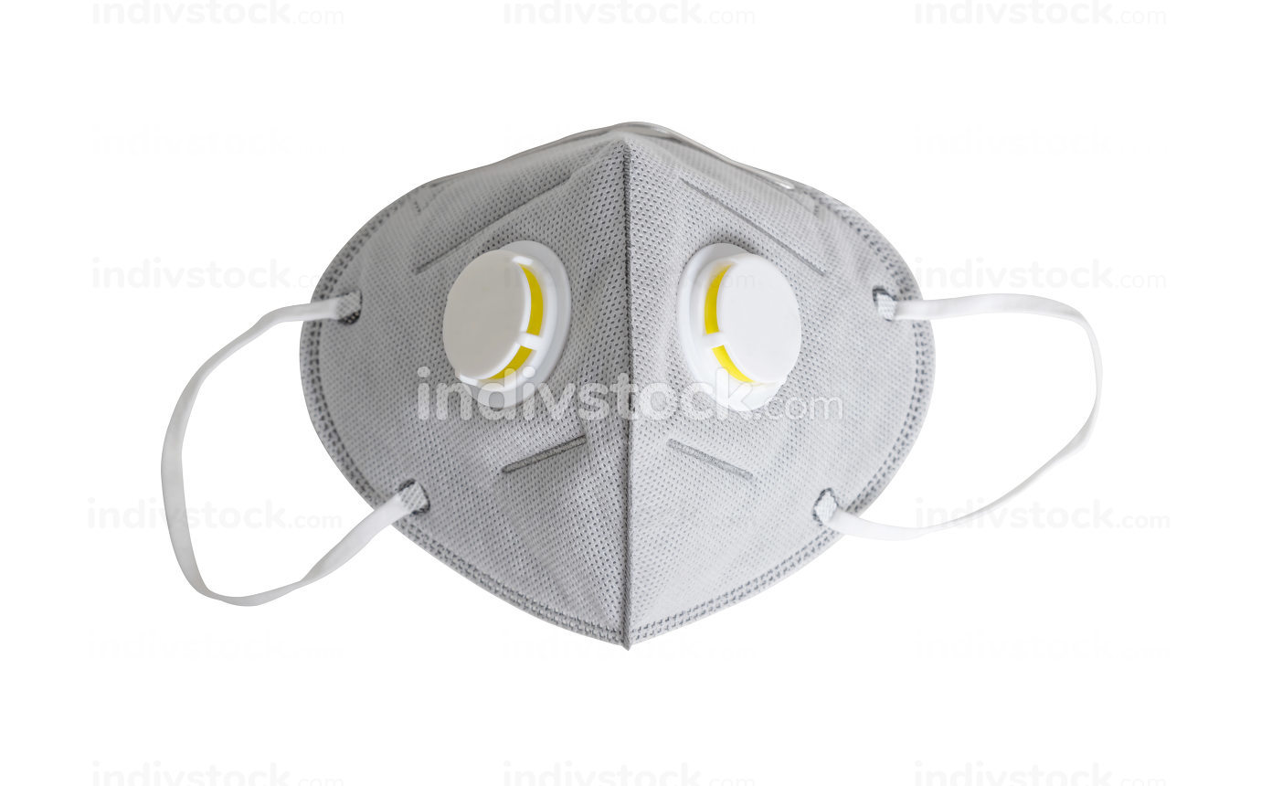An N95 mask on the white background with clipping paths