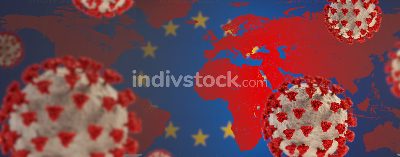 background of Europe and red world map with Coronavirus covid19