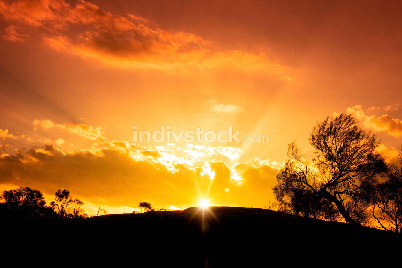 beautiful sunset in the Australia outback