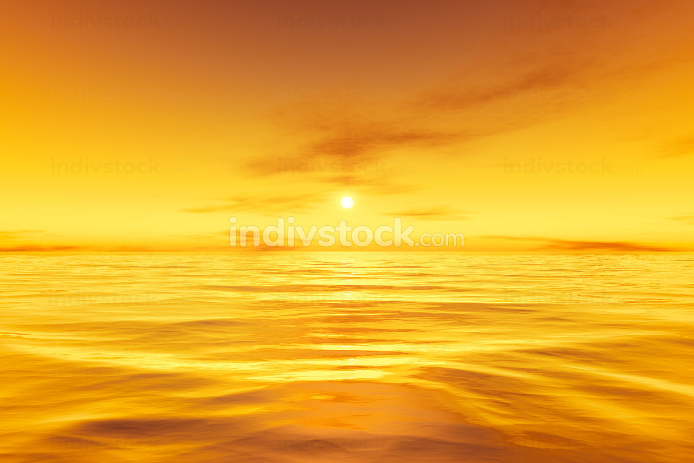 beautiful yellow sunset over the ocean background