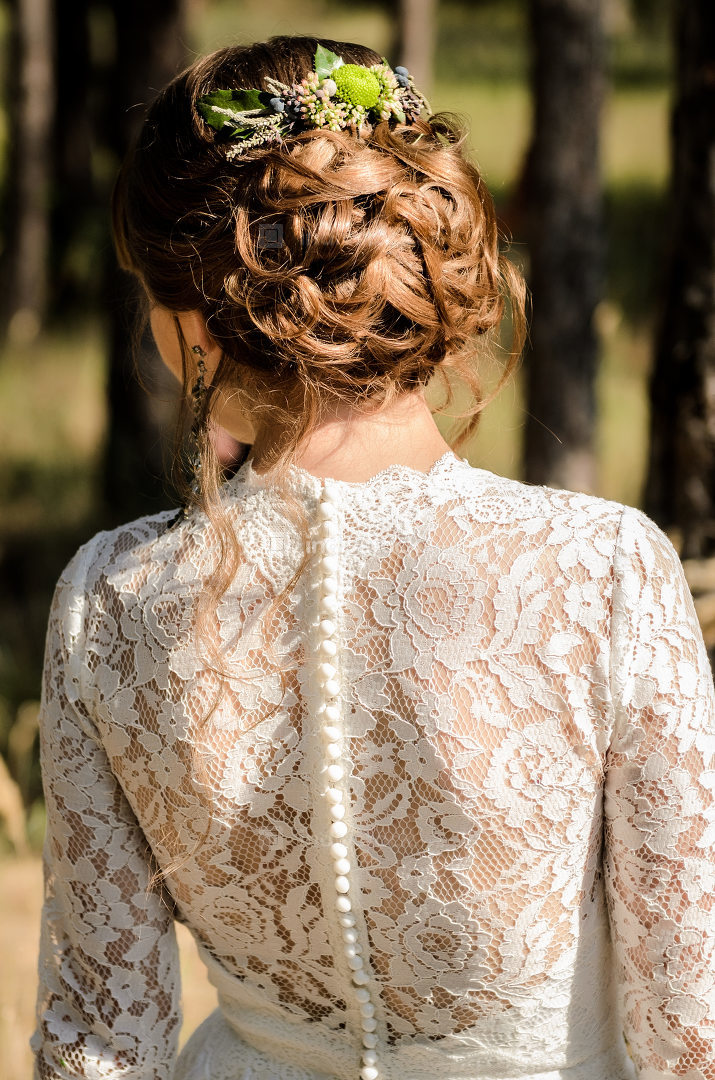 bride hair back