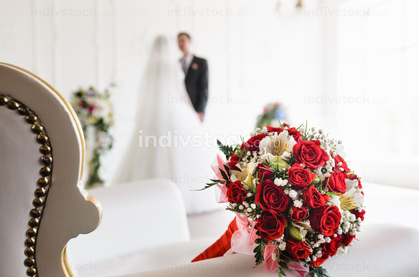 bride's bouquet on the chair